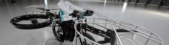 Bicicleta-helicóptero que vuela de verdad